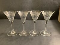 Bacchus By Cambridge Vintage 4 Stem Cordial Glasses Etched Grapes Pattern # 7966