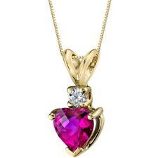 Oravo 14 Kt Yellow Gold Heart 1.00 cts Created Ruby Diamond Pendant