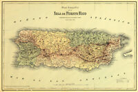 1886 Topographic Map Puerto Rico Caribbean Wall Art Poster Print Decor Artwork