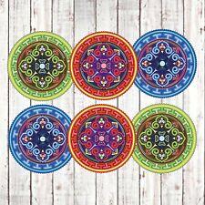 Premium Coasters - Set of 6 - Ceramic Mandala Style Coasters with Bamboo Holder