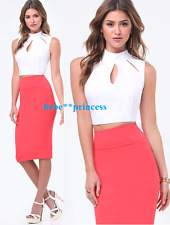 NWT bebe S / M medium 6 white cutout mock neck mini crop sleeveless dress top