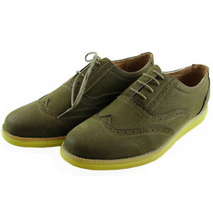 New men's shoes casual fashion lace up style oxfords synthetic suede Olive green