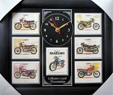 Classic Suzuki Motorcycles Stunning Collector Cards Wall Clock