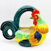 """Vintage Maruhon Ware MCM Majolica Rooster Planter Basket Japan 8.5""""L 4.5""""W 7""""H"""