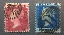 GB  QV SC 20 -21* SG 37/34 1857 1d Red-Brown & 2d Blue   Early QV Classic Lot20