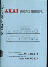 Orig Akai AT K33 L J AM U33 J AM FM Stereo Tuner Amplifier Amp Service Manual