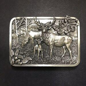 Vintage Elk Wapiti Belt Buckle 1982 Siskiyou Leather and Buckle Co Cast Metal