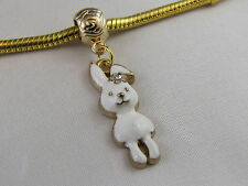 GOLD PLATED WHITE BUNNY DANGLE CHARM FOR EUROPEAN STYLE CHARM BRACELETS #DC 201