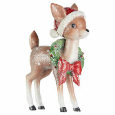 """Raz Imports 9"""" Vintage Standing Deer with Wreath and Bow"""