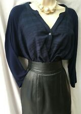 M&S Cotton Broderie Top Size 18 UK Navy Blue Tunic Loose Fit Summer Embroidered