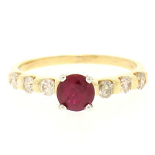 14k Yellow & White Gold 0.95ctw Round Ruby Solitaire & Diamond Engagement Ring