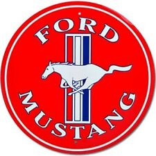 """Ford Mustang Red 12"""" Round Tin Metal Sign Nostalgic Retro Home Garage Wall Decor"""
