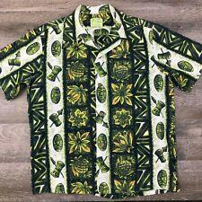 Vintage UI-MAIKAI HAWAII Wide Collar Cotton Camp Shirt Tiki Drums Men's M/L