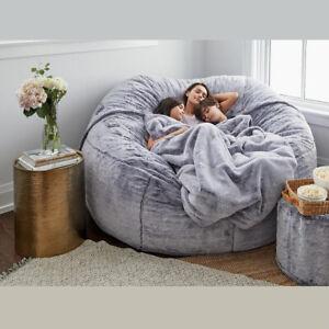 Giant 183*90Cm Bean Bag Bed COVER Fluffy Fur Lazy Sofa Case Living Room Decor