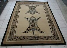 NEW BEIGE TIGERS PRINT WOOL HAND TUFTED THICK FLOOR RUG 160X220CM
