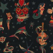 Alexander Henry Gothic Tattoo Fabric Butterfly Skulls & Hearts on Black - FQ