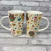 Home Essentials Colorful Owl 14 oz Coffee Tea Latte Mug Lot of 2
