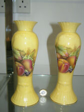 """BEAUTIFUL AYNSLEY ORCHARD GOLD 8"""" INCH PAIR CANDLE HOLDERS CANDLESTICKS 1ST QTY"""