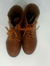 Top Moda Ankle Boots Lace Up Zipper Brown size 6