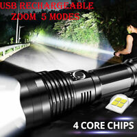 90000LM LED Zoomable Flashlight XHP70 Torch USB Rechargeable Tactical Lamp