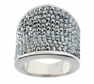 QVC Steel by Design Stainless steel Concave Pave Black Crystal Ring 6