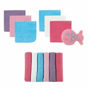 Luvable Friends Washcloths with Toy, 13-Piece Set, Pink and Purple