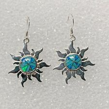 Sterling Silver Inlay Turquoise and Opal Solar Sun Face Hook Dangle Earrings