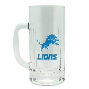 ONE BRILLIANT DETROIT LIONS, HEAVY GAGE, CLEAR GLASS BEER MUG