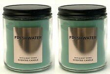 2 BATH & BODY WORKS WHITE BARN SCENTED CANDLE FRESHWATER 7 OZ NEW