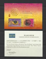 China Hong Kong 2016 Gold New Year of Monkey Ram Stamp S/S 猴