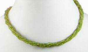 Natural 3 Strands Green Peridot Gemstone Facet Twisted Beads String Necklace