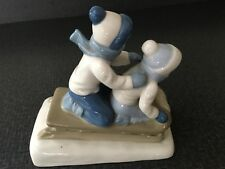 "Porcelana de Cuernavaca Mexico Figurine ""Children on Sled"" Boy Girl Blue White"