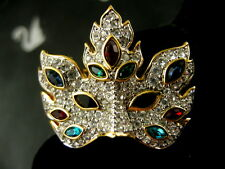 Signed Swarovski Pave' Crystal Mardi Gras Mask Pin ~Brooch Retired Rare New