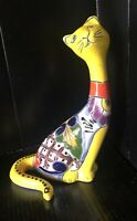 Mexican Art Talavera Pottery Ceramic Animal Sitting Pretty Cat Kitten Yellow