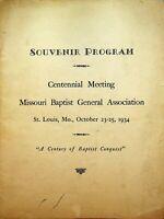 Missouri Baptist General Association Souvenir Program 1934 Centennial Meeting