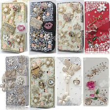 Bling PU Leather Flip Wallet Case Cover Rose Rhinestone For LG Mobile Phones