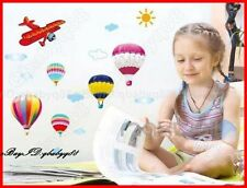 Sun Clouds Plane Hot Airballoon Wall sticker Removable Decals kids nursery decor