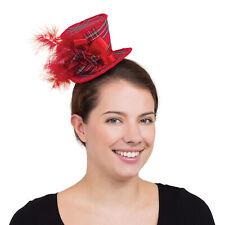 Donna Tartan Rosso Mini Cappello Alto Costume Accessorio