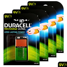 4 x Duracell Rechargeable 9V batteries 170 mAh Block Transistor 6HR61 DC1604 PP3