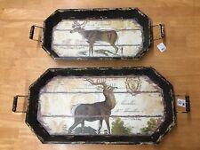 2 pc set Raz Imports Holiday Reindeer Elk Display Trays by artist Tina Higgins