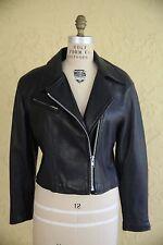 Vtg Vintage Women's Black Leather Coat Jacket Motorcycle Biker Size M