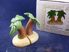 NIB Tropical Sandy Ocean Beach Palm Tree Island Salt & Pepper Shakers CS110