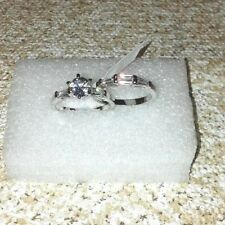 Simulated Diamond Ring - Silvertone - wedding Set of 2 Rings (Size 9.50) - 5.080