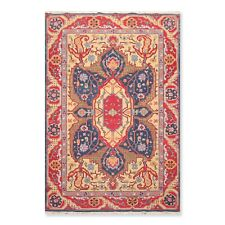 6' x 9' Nourison Nourmak Hand Knotted Wool Reversible Herizz Area Rug 6x9 Navy