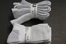 4 Pair's Men's/Women's 9-11 FIT 5 -9.5 Crew Cotton White Gray BOTTOM THICK Socks