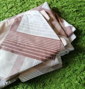 Vintage Brown 70s stripe geometric single Bed Duvet Cover & pillowcase retro set