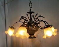 Hollywood Regency Chandelier 6 Lights Brass Flowers Leafs Basket Flower Shades