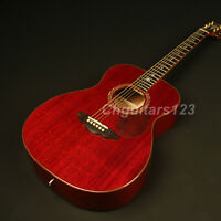 Handmade Electric Acoustic Guitar Solid Mahogany Top Abalone Inlay Sound Hole