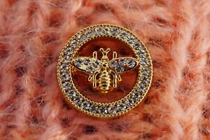 One 1 GUCCI Button Bee 24 mm 0,8 inch Crystals metal