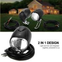 Universal LED Fahrradlicht Fahrradlampe Beleuchtung Lampe + Horn für E-Bike DE
